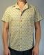 Chemise homme fleurs jaunes. manches courtes 100% coton.