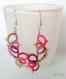Boucles d'oreille printanière rose, bordeau et vert