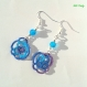 Boucles d'oreille roses bleues violettes en frivolité