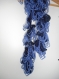 écharpe original bleu tricotée main