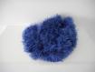 Echarpe tricotée main en laine fantaisie bleu