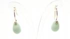 Crochets d'oreilles en or gold filled , perle de verre turquoise