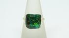 Petite bague carrée or effet ammolite irisée