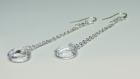 Boucles d'oreilles pendantes en argent et cristaux swarovski transparents