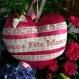 Bonne fête maman coeur en satin couleur fuchsia