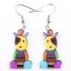 Boucles d'oreilles chien assis coloré acrylique