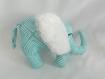 Doudou éléphant bleu et blanc
