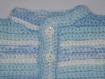 Gilet bébé crocheté main bleu et blanc taille 12 mois