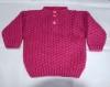 Pull bébé à motifs rose foncé tricoté main taille 12 mois