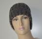Bonnet femme en laine grise tweed avec revers