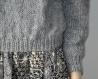 Pull femme oversize col roulé gris fait main taille 38/40