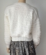 Pull femme oversize blanc fait main taille 38/42