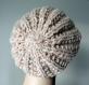 Bonnet hipster en laine beige mouchetée