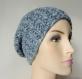 Bonnet hipster en laine bleue mouchetée