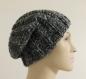Bonnet hipster en laine noire chinée