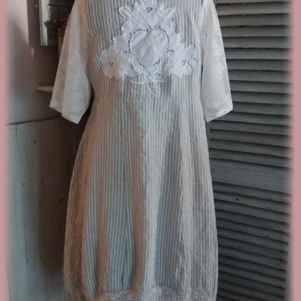 meilleur service 64a7b a129a robe lin raye gris perle blanc shabby chic dentelle ...