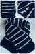 Écharpe large bébé rayée bleu marine et gris clair en laine douce taille 2 ans - tricot