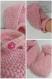 Chaussons bébé croisés à brides rose en laine acrylique taille 3/6 mois - tricot