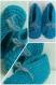 Chaussons bébé bas à lacets bleu turquoise en laine acrylique taille 3/6 mois - tricot