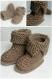 Chaussons bébé montant à revers caramel en laine acrylique taille 3/6 mois - tricot