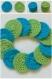 Lot de disques nettoyants bleu turquoise et vert en coton mélangé - crochet