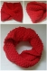 Snood bébé rouge en fil velours taille 2 ans - tricot