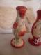 Bougeoir porte bougies peint en rouge et décoré en serviettage coquelicot