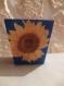 Pot cache pot peint en bleu et décoré en serviettage tournesol cigale provence