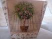 Pot cache pot décoré en serviettage arbre fleuri avec barriere et fleur tous le tour