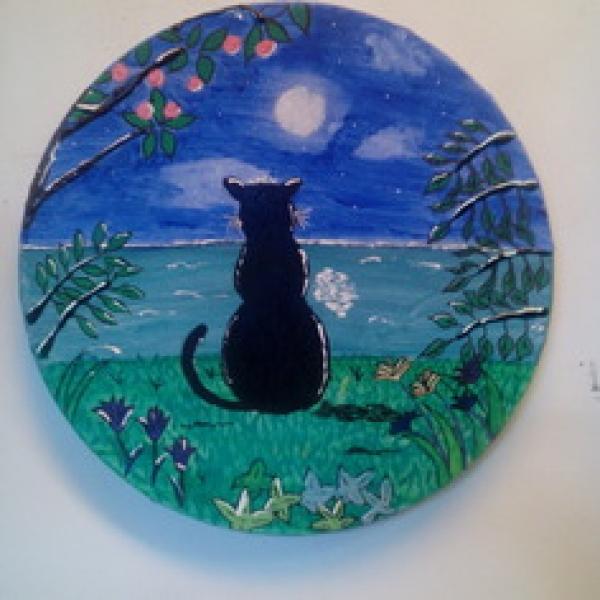 Petit Chat Au Clair De Lunepeinture Acrylique Tableaux Peintures