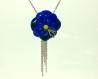 Collier sautoir fleur bleu