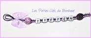 Porte clés prénom • noir et violet • 1 prénoms