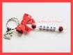 Porte clés prénom • rouge et blanc • 1 prénoms