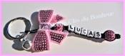 Porte clés  prénom • noir et rose • 1 prénoms