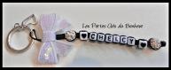 Porte clés prénoms • noir et blanc avec cœur • 1 prénom
