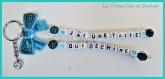 Porte clés prénom • turquoise et blanc avec coeurs • 2 prénoms