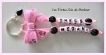 Porte clés prénom • noir et rose • 2 prénoms