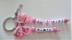 Porte clés prénom • rose • 2 prénoms