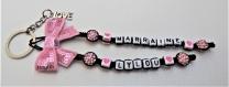 Porte clés prénom • noir et rose avec coeurs • 2 prénoms