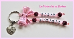 Porte clés prénoms • fushia et rose • 2 prénoms