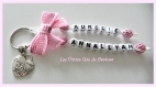 Porte clés prénoms • rose et blanc • 2 prénoms