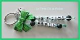 Porte clés prénoms • vert et vert pâle • 2 prénoms