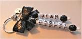 Porte clés prénoms • noir et crystal • 2 prénoms