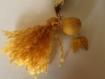 Pochette zippée berlingot 14 cm jaune moutarde à motifs