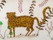 Illustration aquarelle format carte postale pour déco ou carte de voeux - tigre - léopard - panthére - lion - gros chats