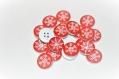 Boutons rouge et blanc motif flocons de neige 1 cm de diamètre