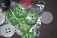 42 lot de 11 bouton flocons de neige vert