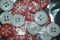 52 lot de 22 boutons flocons de neige rouge