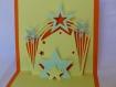 Carte stars en relief 3d kirigami couleur orange vif