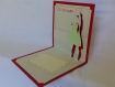 Carte remerciement maîtresse en relief 3d kirigami couleur rouge